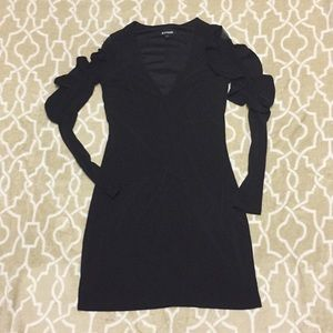 Express Black Dress with Mesh/Ruffle Detail